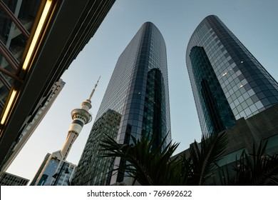 Auckland, New Zealand - January, 2016: Skyscrapers in the financial center of the city