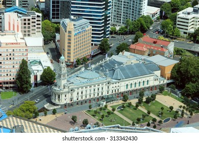 Auckland, New Zealand- JANUARY 28, 2013: Town hall, Downtown, Auckland, New Zealand. View from the bird's-eye view from the window of Sky Tower