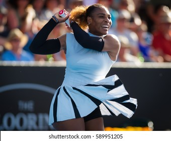 AUCKLAND, NEW ZEALAND - JANUARY 4 : Serena Williams in action at the 2017 ASB Classic WTA International tennis tournament