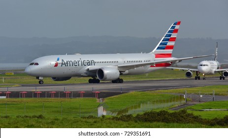 AUCKLAND, NEW ZEALAND - JULY 10:  American Airlines Boeing 787-8 Dreamliner taxiing for departure at Auckland International Airport on July 10, 2017 in Auckland