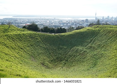 AUCKLAND, NEW ZEALAND - JULY 25, 2019: Mount Eden Summit is the highest volcano in Auckland on Mt Eden. The last eruption was about 15,000 years ago, leaving a crater 50Mt deep.