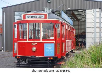 AUCKLAND, NEW ZEALAND - JUNE 09, 2015: Dockline Tram vintage public transport