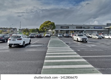 Auckland / New Zealand - June 1 2019: View of Countdown supermarket car park with cars at Meadowlands Shopping Plaza