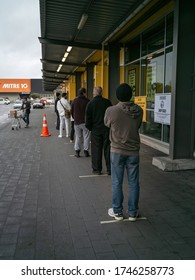 Auckland / New Zealand - June 1 2020: View of people buying groceries in Pak'nSave supermarket in Henderson
