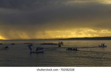 AUCKLAND, NEW ZEALAND - June 10, 2017: Editorial photo of Waka Race at Takapuna Beach.