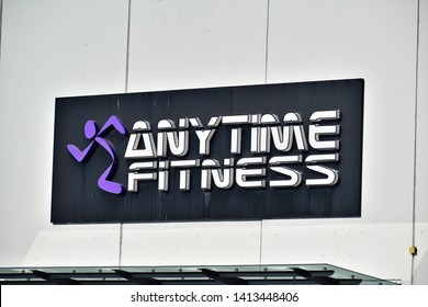 Auckland / New Zealand - June 2 2019: View of Anytime Fitness gym sign board