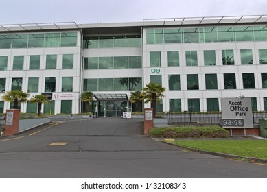 Auckland / New Zealand - June 22 2019: View of Ascot Office Park gate