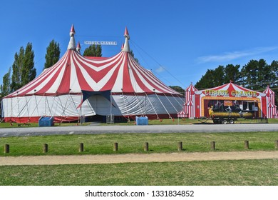 Auckland / New Zealand - March 07 2019: Cirque Grande tent and ticket office