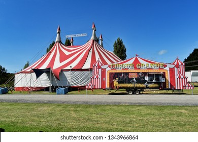 Auckland / New Zealand - March 07 2019: Close-up view of Cirque Grande tent and ticket office