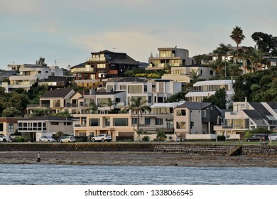 Auckland / New Zealand - March 13 2019: View of houses at Bucklands Beach in evening light