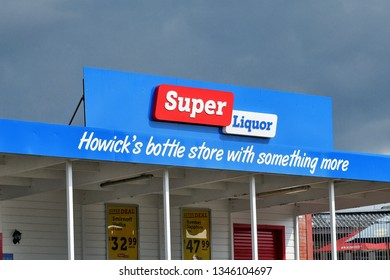 Auckland / New Zealand - March 22 2019: Super Liquor store in Howick