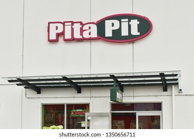 Auckland / New Zealand - March 27 2019: Pita Pit fast food restaurant with fresh, quality ingredients