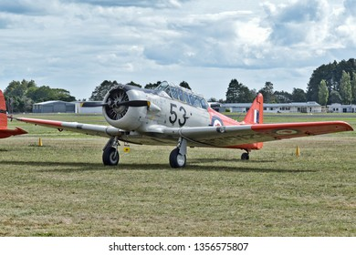 Auckland / New Zealand - March 30 2019: NZ Warbirds North American T-6 Texan (Harvard) at Ardmore airport