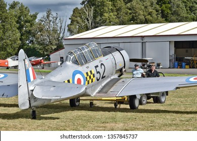 Auckland / New Zealand - March 30 2019: NZ Warbirds North American T-6 Texan (Harvard) being towed at Ardmore airport