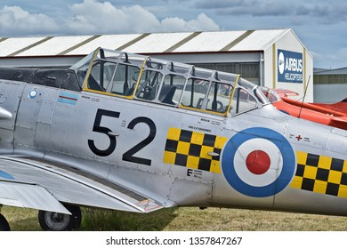 Auckland / New Zealand - March 30 2019: Outside view of cockpit of NZ Warbirds North American T-6 Texan (Harvard) at Ardmore airport