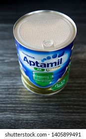 Auckland, New Zealand - May 22 2019: Tin of Aptamil AR formula. Formulated for relief of mild reflux and regurgitaion. Anti-reflux, thickened infant formula suitable from birth. On dark background.