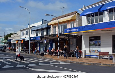 Auckland, New Zealand -  May 22, 2016: The Main Street of St Helliers Bay in Auckland.