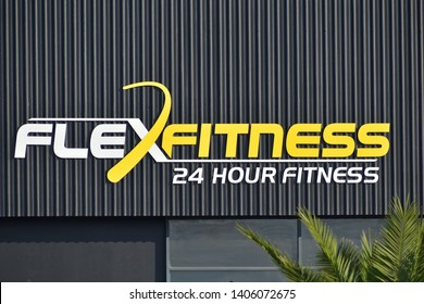 Auckland / New Zealand - May 24 2019: View of FlexFitness 24 hour fitness gym sign