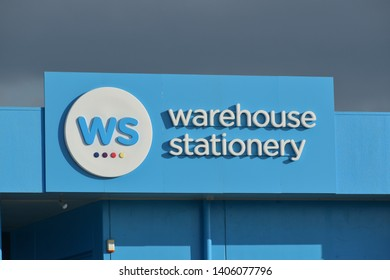 Auckland / New Zealand - May 24 2019: Front view of Warehouse Stationery shop in East Tamaki