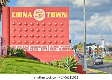 Auckland / New Zealand - May 24 2019: View of China Town shopping centre road sign in East Tamaki