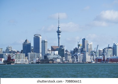 Auckland, New Zealand- May 5, 2017. Cityscape of Auckland sky tower.