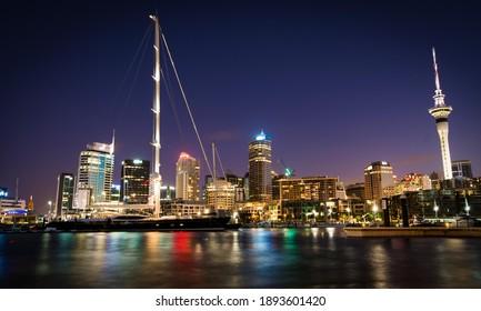 Auckland New Zealand. Night skyline