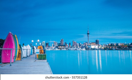AUCKLAND, NEW ZEALAND - NOVEMBER 14, 2015: View of Auckland skyline at blue hour from St Marys Bay on November 14, 2015.