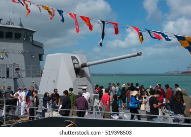 AUCKLAND, NEW ZEALAND - NOVEMBER 20, 2016 This year marks the 75th Anniversary of  New Zealand Navy. Ships from Japan, China, Republic of Korea,  Singapore, and New Zealand were open to the public.