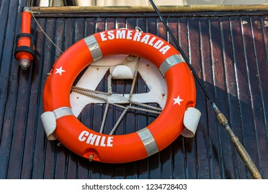 Auckland, New Zealand - November 22, 2016: Lifesaver aboard the Esmeralda at the New Zealand Navy's 75th Birthday celebrations.