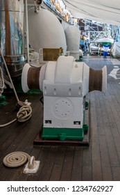 Auckland, New Zealand - November 22, 2016: Winch aboard the Esmeralda at the New Zealand Navy's 75th Birthday celebrations.