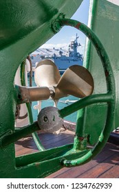 Auckland, New Zealand - November 22, 2016: The propeller of a lifeboat aboard the Esmeralda at the New Zealand Navy's 75th Birthday celebrations.