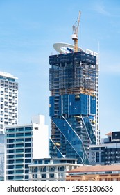 Auckland / New Zealand - November 7 2019:  Remote view of the Pacifica building construction