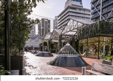 Auckland, New Zealand, NZ - September 20, 2017: People in the Britomart shopping and transportation precinct of Auckland