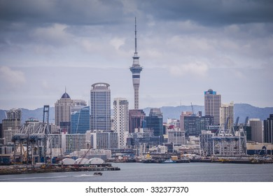 Auckland, New Zealand - OCT. 2015 : A view of Auckland city and harbor from Mt Victoria, Devonport, Auckland, New Zealand