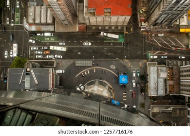 Auckland, New Zealand, October 13, 2017: View from above looking down onto streets and rooftops in the centre of Auckland on the north island of New Zealand