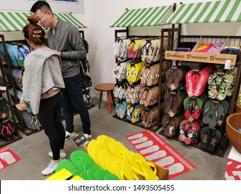 Auckland / New Zealand - September 1 2019: View of Havaianas jandals store in Westfield Newmarket Shopping Centre mall
