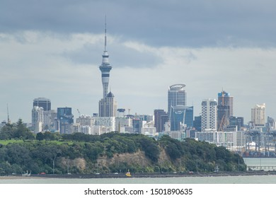 Auckland / New Zealand - September 10 2019: View of Auckland city skyline from Mission Bay