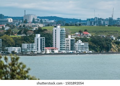 Auckland / New Zealand - September 10 2019: View of beach front apartment buildings at Tamaki Drive