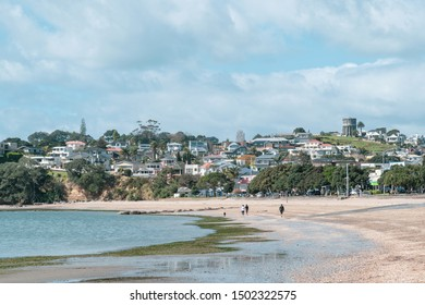 Auckland / New Zealand - September 10 2019: View of St Heliers Bay suburb with waterfront houses in background