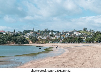 Auckland / New Zealand - September 10 2019: View of St Heliers Bay suburb and waterfront houses in background