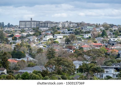 Auckland / New Zealand - September 10 2019: View of St Heliers suburb with Grace Joel retirement village apartment building in background