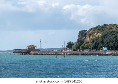 Auckland / New Zealand - September 6 2019: View of Tamaki Drive with Okahu Bay Wharf