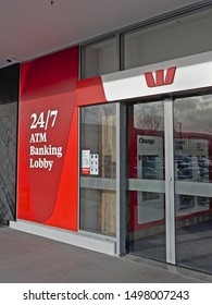 Auckland / New Zealand - September 7 2019: View of Westpac bank ATM lobby in Botany Town Centre