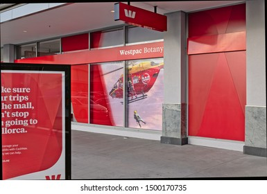 Auckland / New Zealand - September 7 2019: View of Westpac bank in Botany Town Centre with rescue helicopter poster