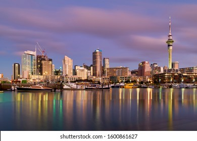 Auckland New Zealand. The skyline from Viaduct Harbour at sunset. New Zealand August 2019