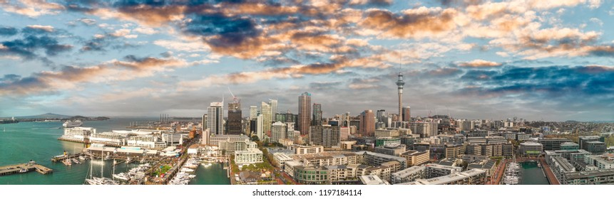Auckland, New Zealand. Sunset aerial panorama of city skyline.