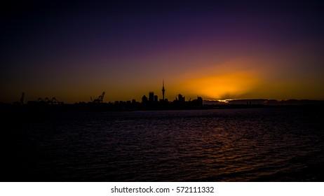 Auckland, New Zealand Sunset from Devonport.