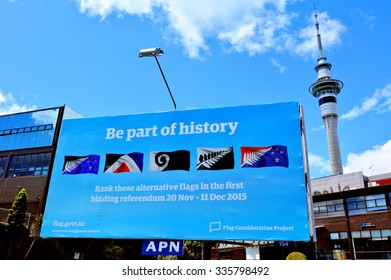 AUCKLAND - NOV 04 2015:Gaint billboard with the top 5 alternative new flags.New Zealand Parliament  scheduled a two-stage binding referendum that is expected to cost $25.7 million