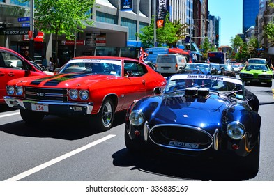 AUCKLAND - NOV 05 2015:US classic muscle cars pared in Auckland, New Zealand.It's A large V8 engine car fitted in a 2-door of family-style mid-size or full-size car designed for 4-5 passengers.