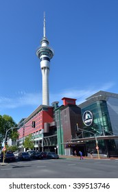 AUCKLAND - NOV 14 2015:Skycity Auckland and Sky tower in Auckland New Zealand.It's a casino and event centre with more than eight million visitors that have passed through, 15% from overseas.